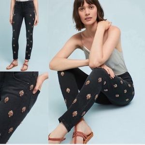 Pilcro Anthropologie black embellished jeans 25
